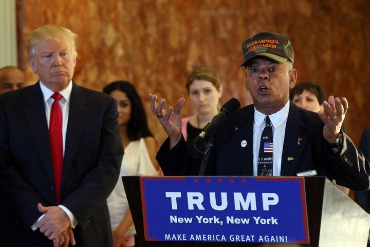 Former Marine Al Baldasaro speaks alongside GOP nominee Donald Trump on May 31, 2016 in New York City.