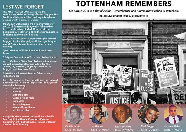 A poster for the Tottenham Remembers event on August