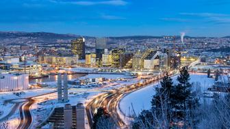 Oslo Skyline winter morning