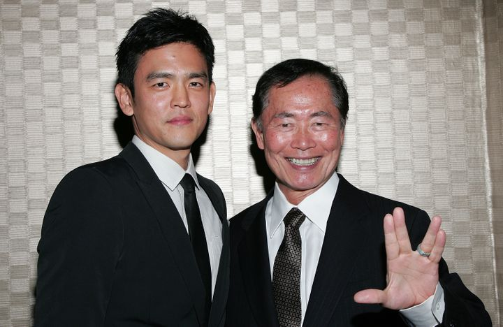 "John Cho (left) said he was worried about how George Takei would feel about the decision to portray Sulu as a gay man in ""Sta"