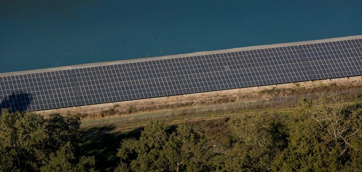 A large solar array that is adjacent to Charles M. Schulz Airport in Santa Rosa, California.