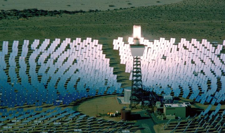 An aerial photograph of the Solar One Energy Plant in the Mojave Desert near Daggett, California.