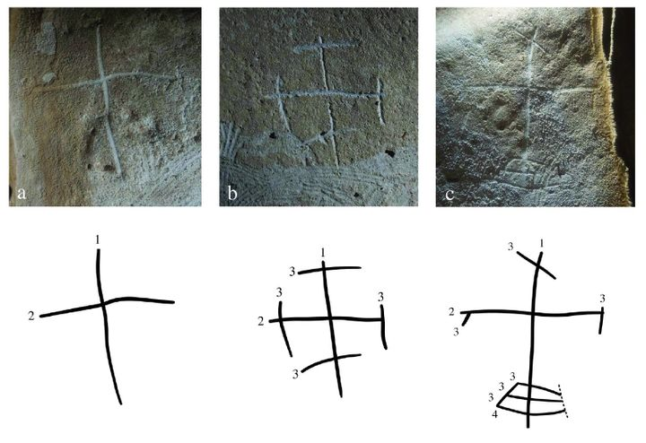 More than a dozen crosses, in different styles, were found inside of one cave.