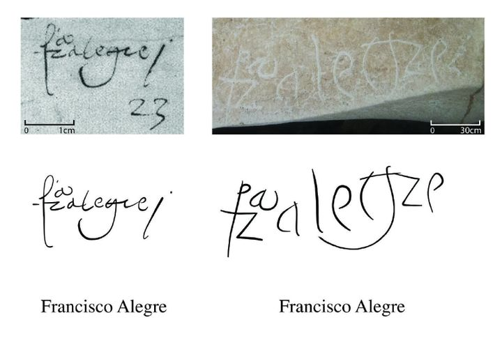 One name found on the walls is of Francisco Alegre who emigrated to Puerto Rico from Spain in the 1530s.