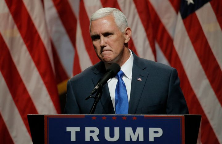 GOP vice presidential nominee and Indiana Gov. Mike Pence (R) addresses a news conference in New York on July 16, 2016.