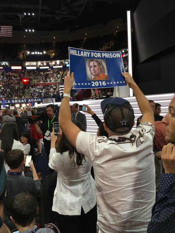 The crowd on the floor of the Republican National Convention in Cleveland has repeatedly been promoting the idea that Hillary