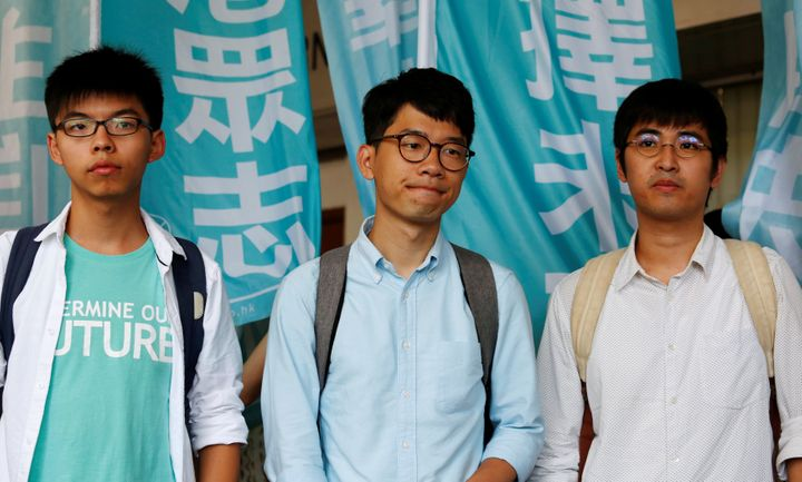 Student leaders (from left) Joshua Wong, Nathan Law and Alex Chow. Wong and Chow were found guilty on Thursday of unlawful as