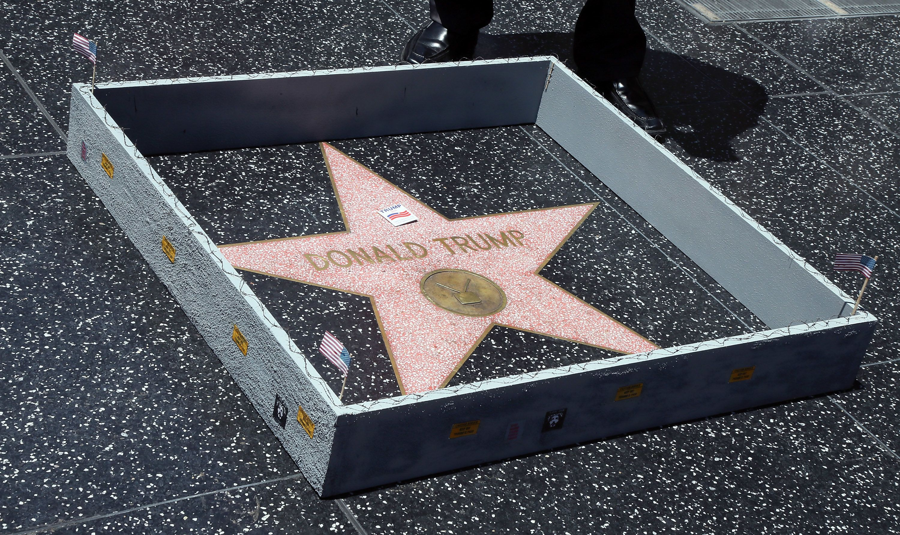 Someone Has Built A Tiny Wall Around Donald Trump's Star On The Hollywood Walk Of