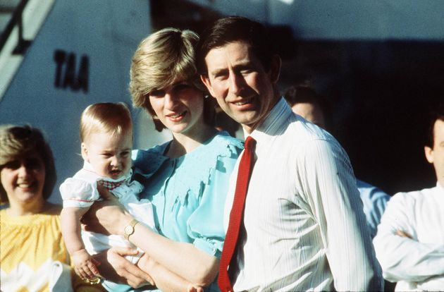 The Prince of Wales with Diana, Princess of Wales arriving with baby Prince William in Alice Springs,...
