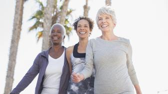 Senior women walking outdoors