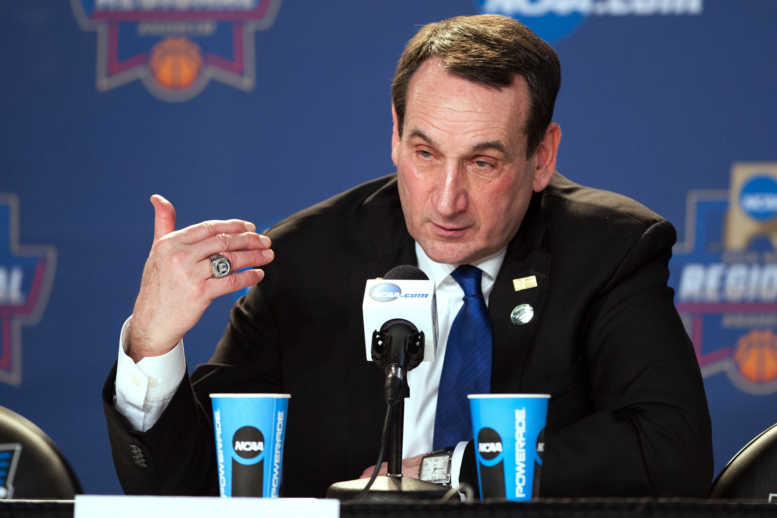ANAHEIM, CA - MARCH 24: Head coach Mike Krzyzewski of the Duke Blue Devils addresses the media following their game against the Oregon Ducks during the West Regional Semifinal of the 2016 NCAA Men's Basketball Tournament at Honda Center on March 24, 2016 in Anaheim, California. (Photo by Lance King/Getty Images)