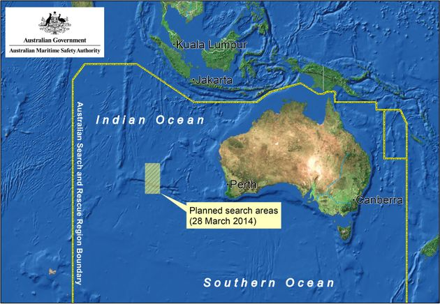 This satellite image by the AMSA (Australian Maritime Safety Authority) shows a map of the planned search...