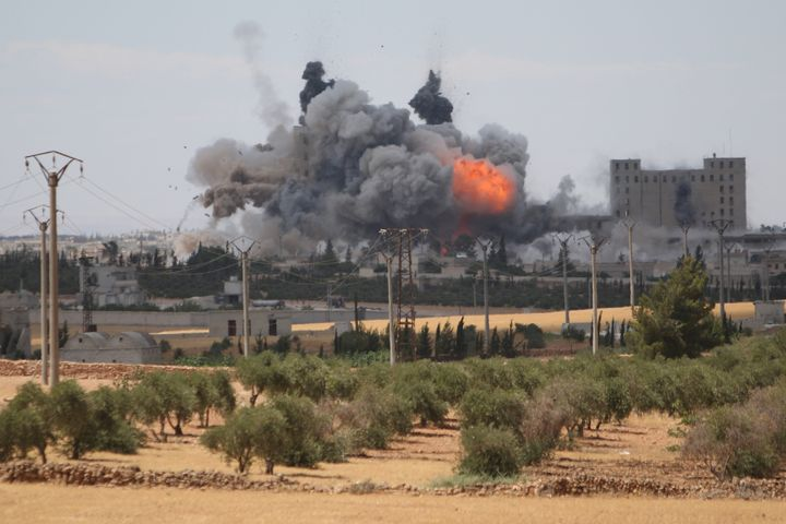 An airstrike on Manbij last week. Syria's opposition has called for a halt in U.S.-led airstrikes while reports of civilian casualties are investigated.