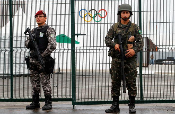 Brazilian security forces guard an entrance tothe 2016 Rio Olympics Park in Rio de Janeiro, Brazil on Thursday.