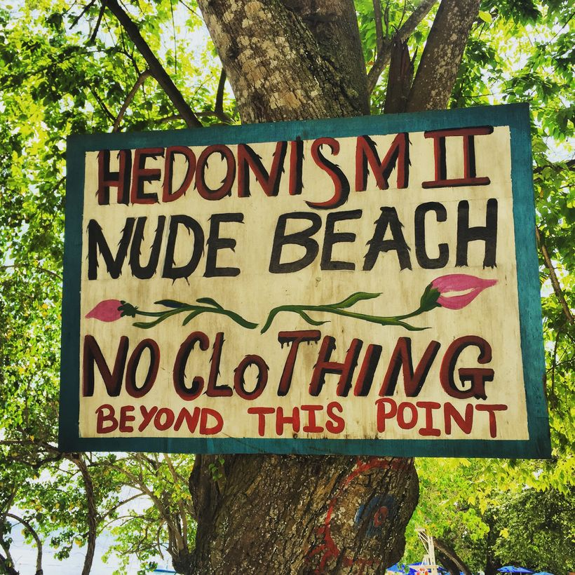 A sign at the entrance the nude only part of the beach