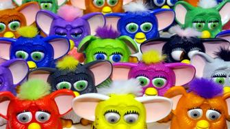 Scaled-down versions of the Gurby doll are lined up in a display at the Tiger Electronics LTD show room at the International Toy Center during the opening day of the American International Toy Fair in New York, February 8. Hoping to capitalize on the craze for Furby, the talking interactive doll that was one of the hottest toys over the holidays, McDonald's Corp. will be giving away scaled-down versions of the toy with Happy Meals beginning in late March.