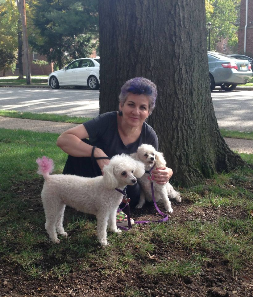 Deirdre Mahon with rescue poodles Deeva and Lily