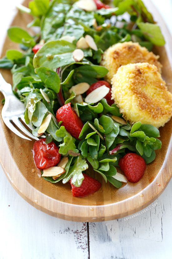 """<strong>Get the <a href=""""http://www.loveandoliveoil.com/2014/05/purslane-and-pickled-strawberry-salad-with-fried-goat-cheese."""