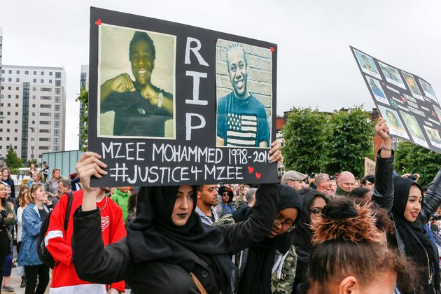 Black Lives Matter demonstrators protest the death of Mzee Mohammed in