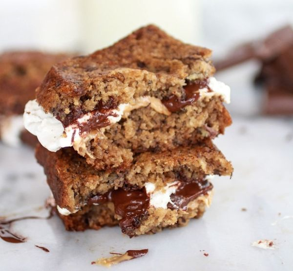 """<strong>Get the <a href=""""http://www.halfbakedharvest.com/grilled-banana-bread-peanut-butter-smore-with-vanilla-marshmallows/"""""""