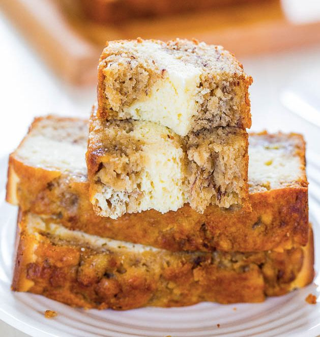 """<strong>Get the <a href=""""http://www.averiecooks.com/2014/07/cream-cheese-filled-banana-bread.html"""" target=""""_blank"""">Cream Chee"""