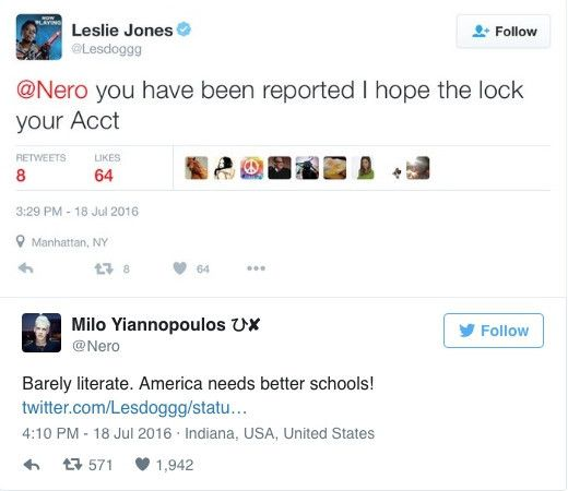 One of Milo's tweets before he got banned