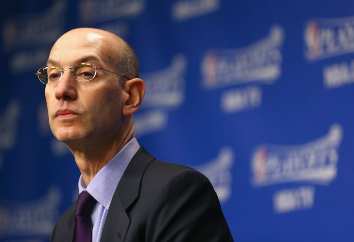 Adam Silver talks to the media before the start of the Oklahoma City Thunder game against the Memphis Grizzlies in Game 4 of