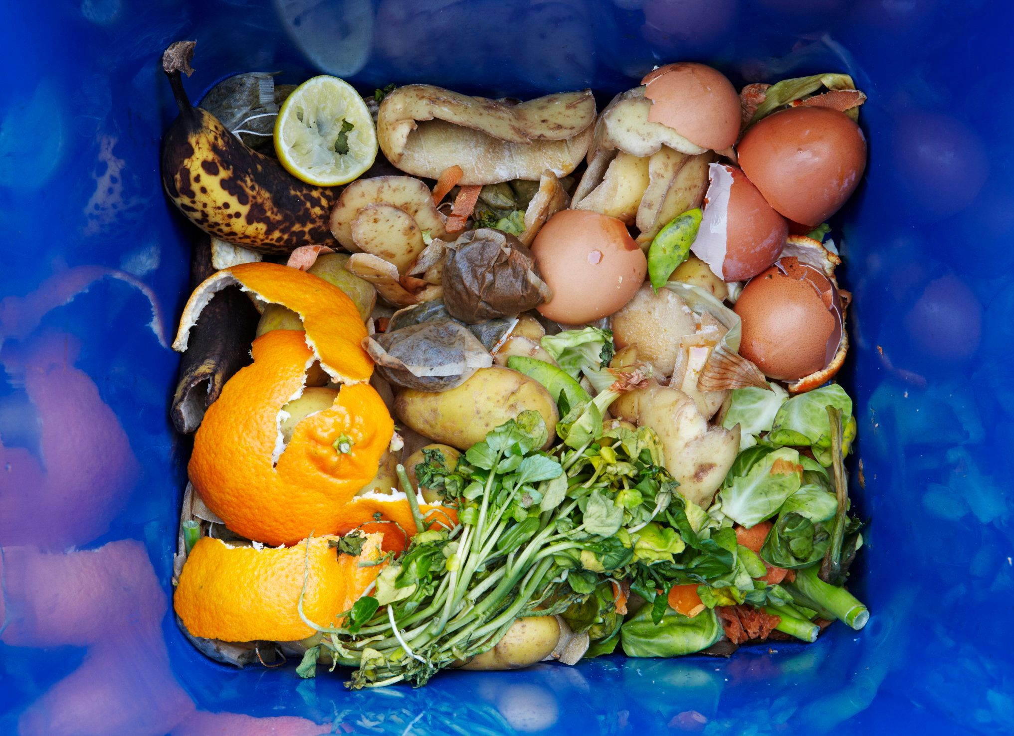 Food waste recycling caddy. The food waste in the UK is intended to be composted and thereby preventing it to be sent to landfill