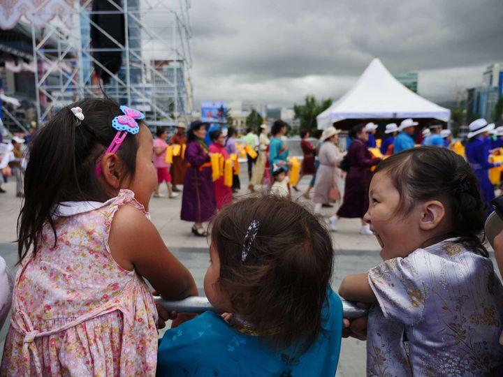 Kids in Ulaanbaatar, Mongolia at the Naadam festival
