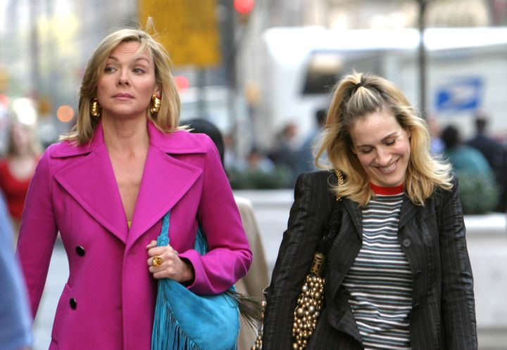 Kim Cattrall and Sarah Jessica Parker film scenes in New York City.