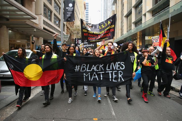 Black Lives Matter protesters march towards Martin Place on July 16, 2016 in Sydney, Australia.