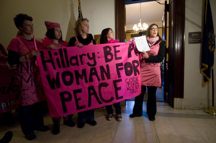 "Code Pink protesters called on Sen. Hillary Clinton in 2007 to ""dismantle her web of war."""