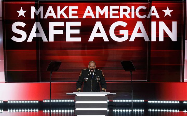 """Monday's convention theme, """"Make America Safe Again,"""" emphasized national security."""