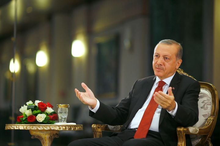 Turkish President Tayyip Erdogan attends an interview with Reuters at the Presidential Palace in Ankara, Turkey, July 21, 201