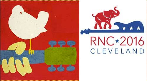 The 2016 GOP Convention and 1969 Woodstock Music Festival logos look similar, but Woodstock just wants to spread the love.