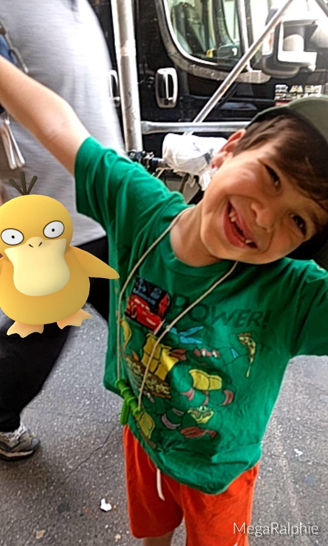 Ralphie, who's a big fan of Pokémon Go.