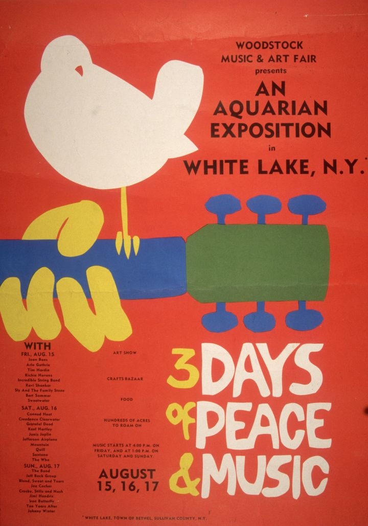 The original promotion poster for the 1969 Woodstock Music and Arts Fair in Bethel, New York. The white dove sitting on a gui