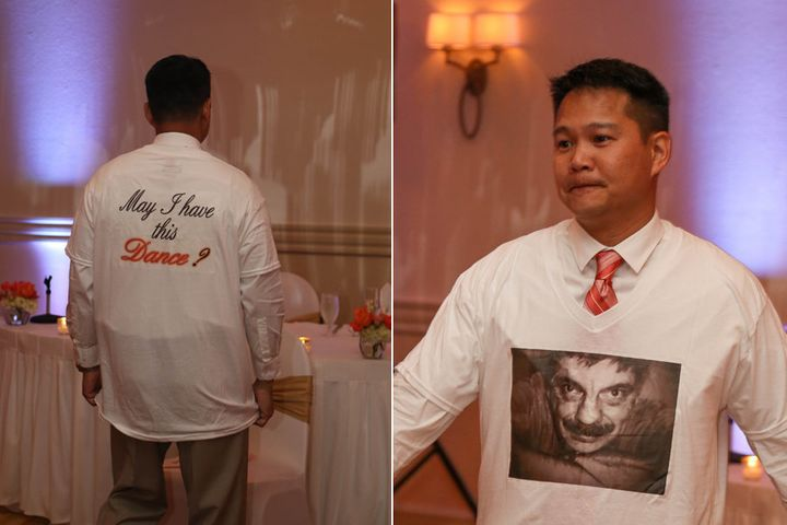 Perez made a T-shirt with a picture of Ball's father on it and wore it for the special dance.