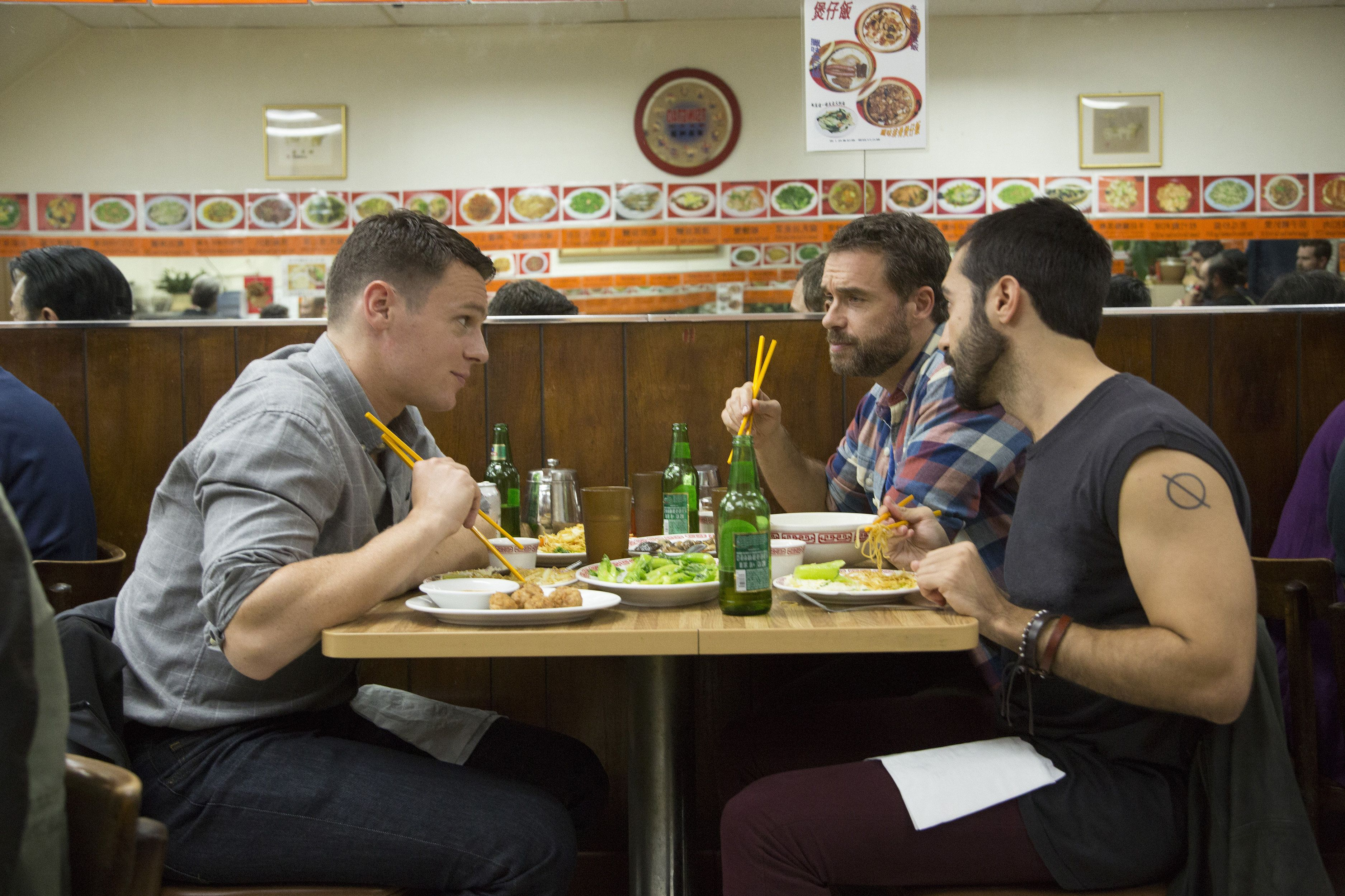 "From left: Jonathan Groff, Murray Bartlett and Frankie J. Alvarez star in ""Looking: The Movie,"" which airs July 23 on HBO. &n"