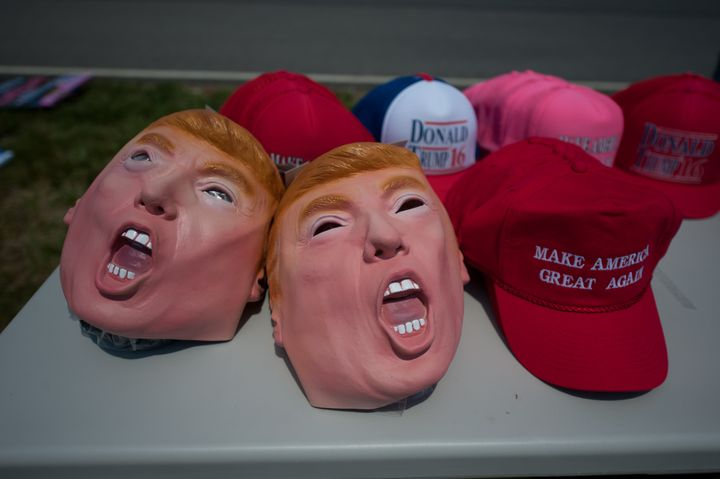 Memorabilia is sold before Republican candidate for President Donald Trump speaks to supporters at a rally at Atlantic Aviation on June 11, 2016 in Moon Township, Pennsylvania.