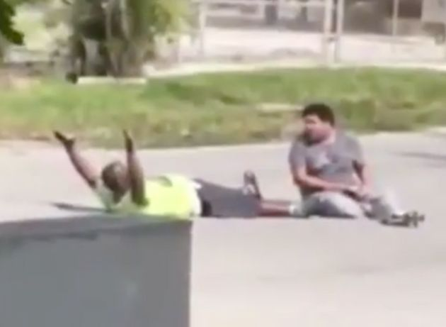 Mobile phone footage captured Charles Kinsey lying on the ground with his arms in the air while his patient...