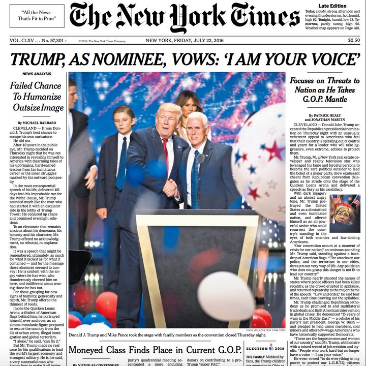 How Newspapers Responded To Donald Trump's Historic Night