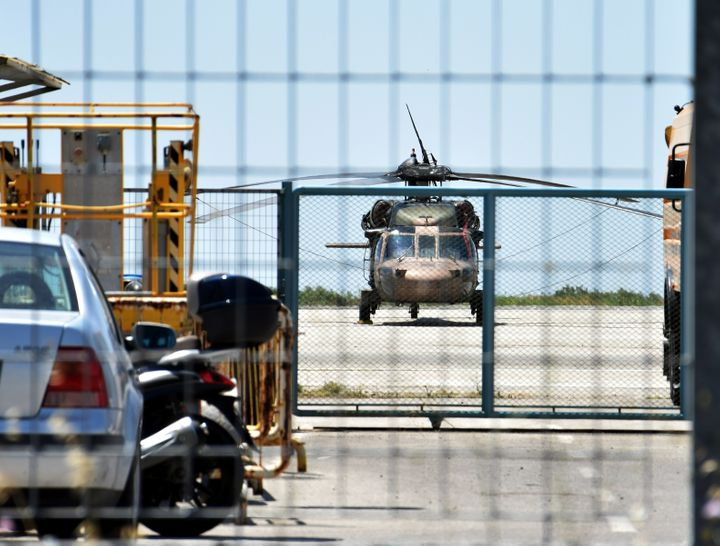 A Turkish military helicopter lands in the northern Greek city of Alexandroupolis with eight men on board who have requested