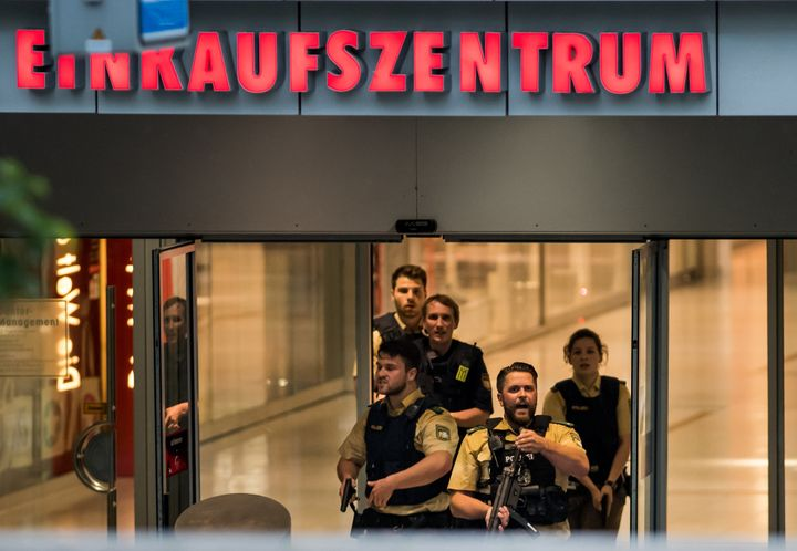 Police officers respond to the shooting in Munich, Germany on July 22, 2016.