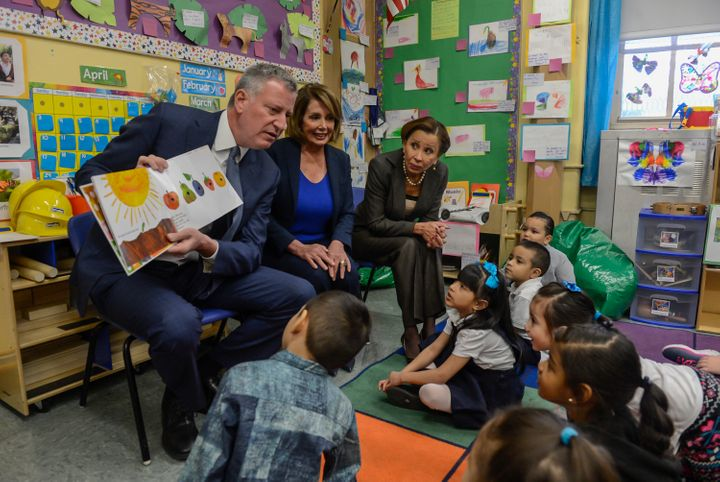 New York City Mayor Bill de Blasio, left, launched the NYC Men Teach initiative in January 2015 to recruit male teachers of c