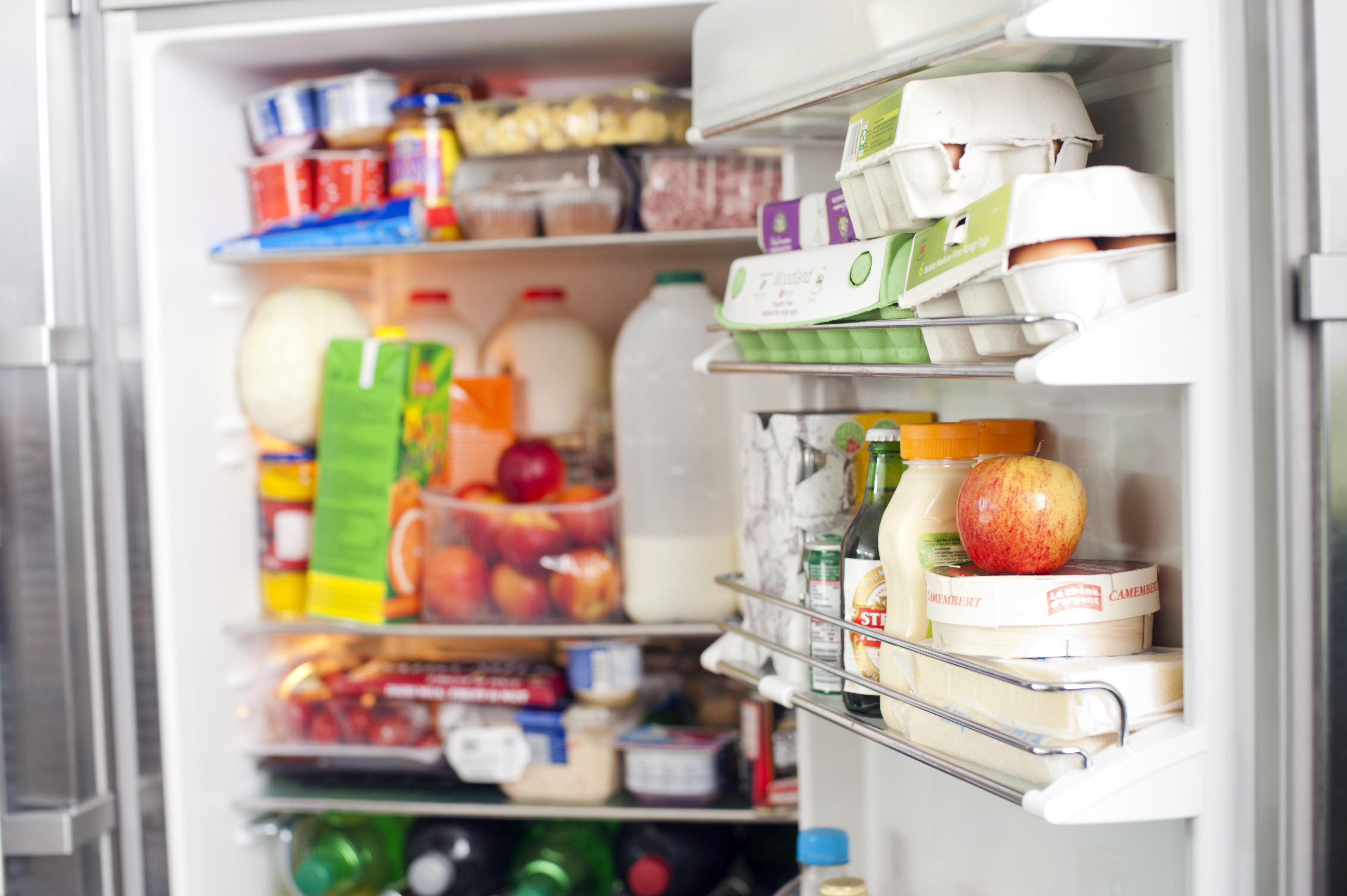 Open fridge full of groceries