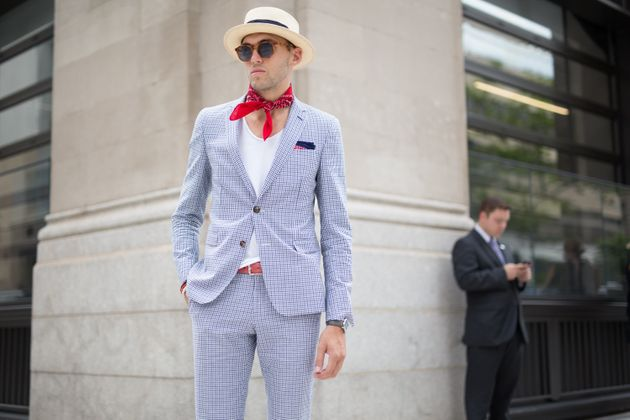 A man attends a presentation during New York Fashion Week: Men'swearing -- you guessed it! -- a...