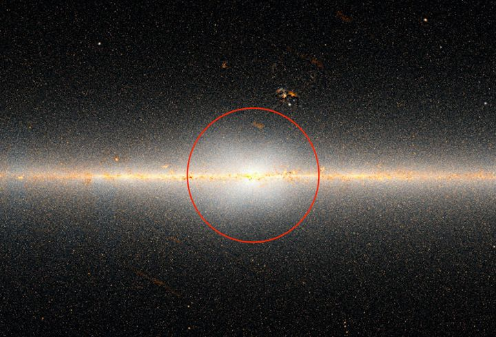 The WISE all-sky map of the Milky Way galaxy. Within the red circle is a huge bulge, or X-shaped mass of stars, at the c
