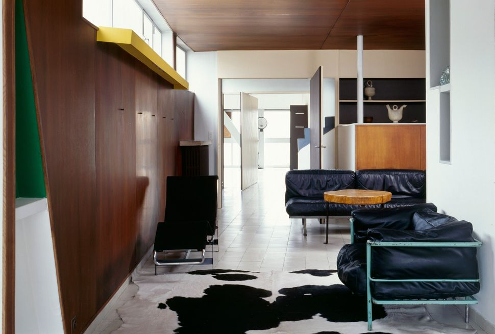 Le Corbusier's living room in his apartment in the Parisian district of Molitor, in a building he built in the 1930s.