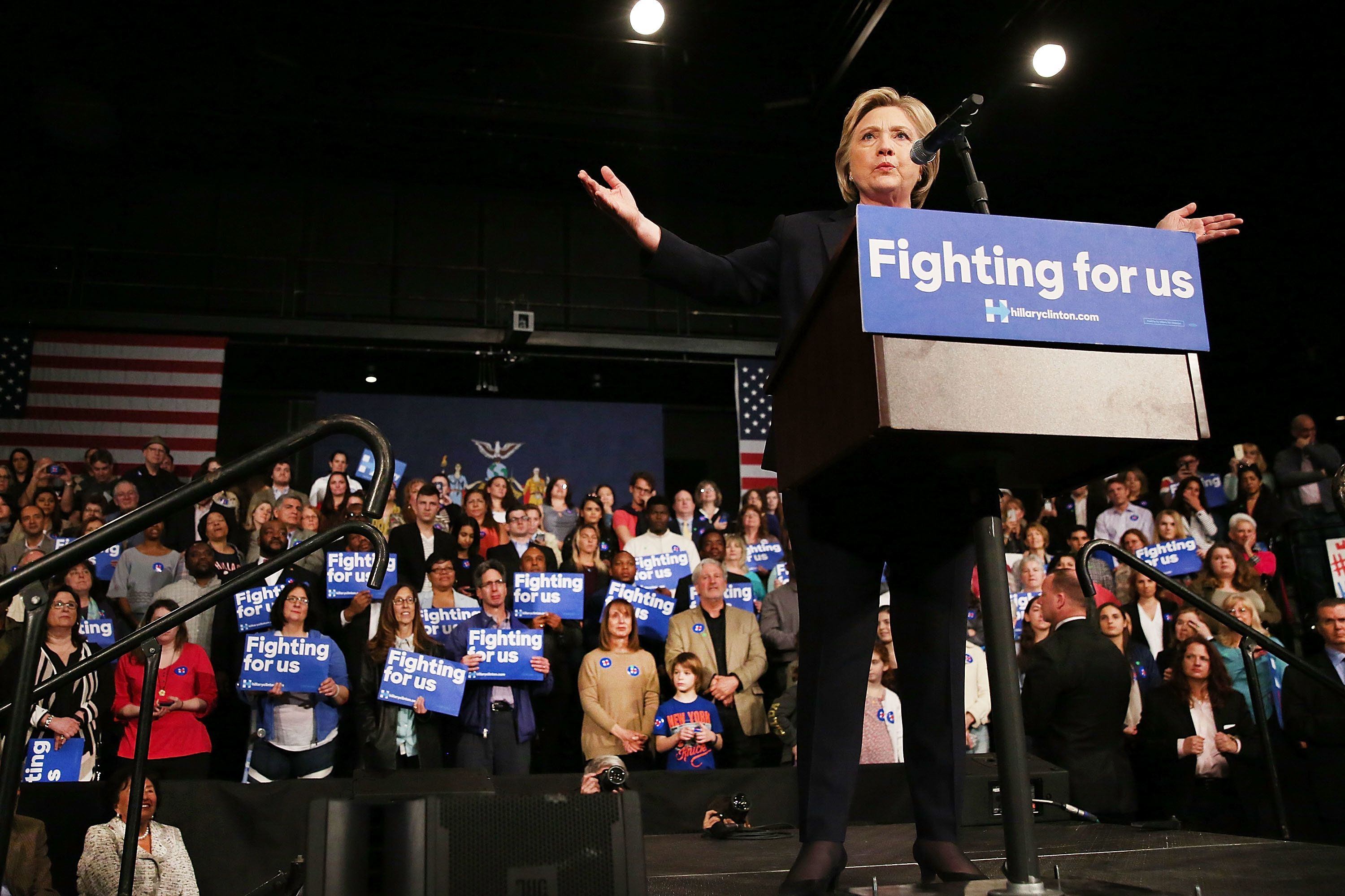 PURCHASE, NEW YORK - MARCH 31:  Democratic presidential candidate Hillary Clinton speaks at SUNY Purchase on March 31, 2016 in Purchase, New York. Clinton gave a speech to both students and supporters that covered a host of domestic and international issues.ump. New York will hold its primaries on April 19.  (Photo by Spencer Platt/Getty Images)